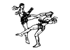Muay thai, thai boxing kick fighting vector hand drawn. Muay thai, thai boxing kick fighting vector hand drawing Royalty Free Stock Photo