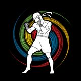 Muay Thai, Thai Boxing standing graphic vector. Muay Thai, Thai Boxing standing illustration graphic vector Royalty Free Stock Images