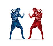 Muay Thai, Thai boxing standing ready to fight action  graphic vector. Muay Thai, Thai boxing standing ready to fight action  illustration graphic vector Royalty Free Stock Photos