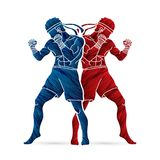 Muay Thai, Thai boxing standing ready to fight. Action illustration graphic vector Stock Image