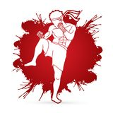 Muay Thai, Thai boxing standing ready to fight. Action illustration graphic vector Royalty Free Stock Images