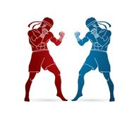 Muay Thai, Thai boxing standing ready to fight action graphic vector. Muay Thai, Thai boxing standing ready to fight action illustration graphic vector Royalty Free Stock Photo