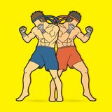 Muay Thai, Thai boxing standing ready to fight. Action illustration graphic vector Stock Images