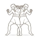 Muay Thai, Thai boxing standing ready to fight. Action illustration graphic vector Stock Photos