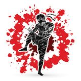 Muay Thai, Thai boxing standing ready to fight. Action illustration graphic vector Royalty Free Stock Image
