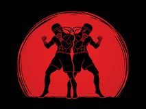 Muay Thai, Thai Boxing standing together graphic vector. Muay Thai, Thai Boxing standing together illustration graphic vector Royalty Free Stock Photography