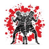 Muay Thai, Thai Boxing standing together graphic vector. Muay Thai, Thai Boxing standing together illustration graphic vector Stock Photography