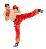 Muay thai trainer executing a kick Stock Photography
