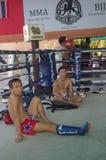 Muay Thai training at Fairtex. Fairtex Muaythai Training Centre in Pattaya, Thailand is state of the art training centre offering Muaythai and Combat Sports stock photo