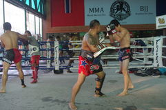 Muay Thai training at Fairtex. Fairtex Muaythai Training Centre in Pattaya, Thailand is state of the art training centre offering Muaythai and Combat Sports stock image