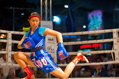 Muay Thai Warmup Wai Khru Knee Kicking Stock Photography