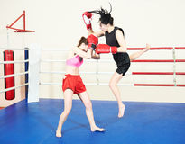Muay thai woman fighting at boxing ring Royalty Free Stock Images