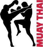 Muay thai word with fight. Vector Royalty Free Stock Photography