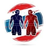 Muay thailändischer, thailändischer Verpacken-Sport vektor abbildung