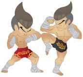 Muay thailändsk stridighet Stock Illustrationer