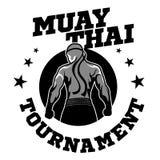 Muay Thais vectorembleem voor het in dozen doen gymnastiek of andere royalty-vrije illustratie