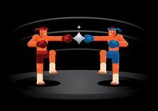 Muay Thaise rode en blauwe vechter op de ring vector illustratie