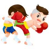 Muaythai14. Cute Thai boxing kids fighting actions back kick strike Stock Images