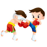 Muaythai. Cute Thai boxing kids fighting actions back kick strike Royalty Free Stock Images