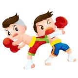Muaythai12. Cute Thai boxing kids fighting actions back kick strike and dodge Stock Photo
