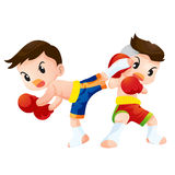 Muaythai16. Cute Thai boxing kids fighting actions back kick strike and guard Stock Images