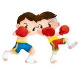 Muaythai. Cute Thai boxing kids fighting actions Elbow strike Royalty Free Stock Photos