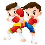 Muaythai. Cute Thai boxing kids fighting actions  Elbow strike and kick strike Royalty Free Stock Photos