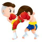 Muaythai7. Cute Thai boxing kids fighting actions high kick strike Stock Photo