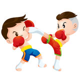 Muaythai8. Cute Thai boxing kids fighting actions high kick strike and dodge Royalty Free Stock Photography