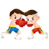 Muaythai5. Cute Thai boxing kids fighting actions hit strike Royalty Free Stock Photography
