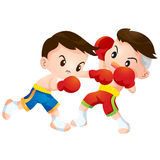 Muaythai4. Cute Thai boxing kids fighting actions hit strike and dodge Stock Photo