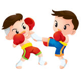 Muaythai3. Cute Thai boxing kids fighting actions kick strike Royalty Free Stock Image