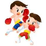 Muaythai11. Cute Thai boxing kids fighting actions knee over strike Royalty Free Stock Image