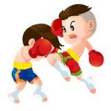 Muaythai6. Cute Thai boxing kids fighting actions knee over strike Stock Image