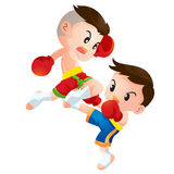 Muaythai. Cute Thai boxing kids fighting actions knee over strike Royalty Free Stock Photos
