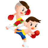 Muaythai13. Cute Thai boxing kids fighting actions knee over strike and back kick Royalty Free Stock Image