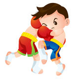 Muaythai2. Cute Thai boxing kids fighting actions knee strike Stock Photography