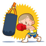 Muaythai sandbag boxing hit. Muaythai kids boxing hit sandbag Stock Photos