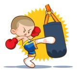 Muaythai sandbag boxing kick. Muaythai kids sandbag boxing kick Royalty Free Stock Photo