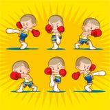 Muaythai sandbag boxing kick. Muaythai kids boxing  fighting many action Stock Image