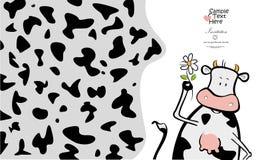 Mucca adorabile e un fiore illustrazione di stock