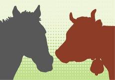 Mucca & horese illustrazione di stock