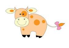 Mucca arancione sveglia Fotografia Stock