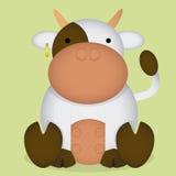 Mucca bianca sveglia del fumetto di vettore piccola isolata Immagini Stock