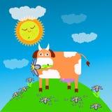 Mucca che mangia l'illustrazione dei bambini s del prato dell'erba illustrazione di stock