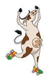 Mucca con i pattini di rullo Illustrazione di Stock