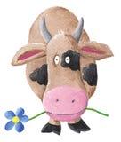 Mucca con il fiore BLU illustrazione vettoriale