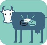 Mucca con le monete lucide all'interno della sua pancia Fotografie Stock Libere da Diritti