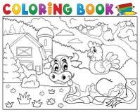 Mucca del libro da colorare vicino al tema 3 dell'azienda agricola Immagini Stock