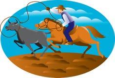 Mucca del toro di Riding Horse Lasso del cowboy Fotografie Stock Libere da Diritti